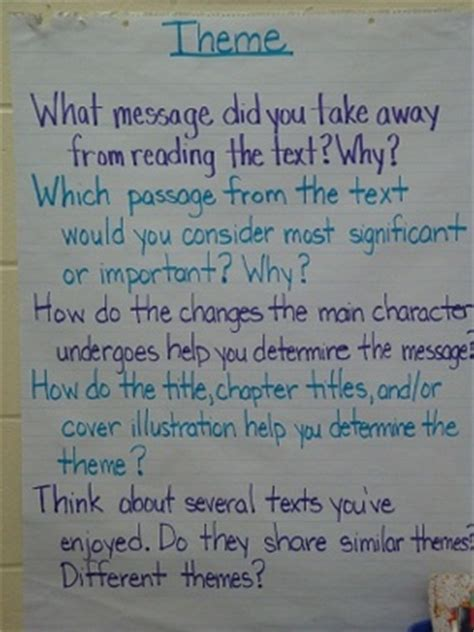 theme definition 3rd grade 17 best images about theme reading anchor charts on