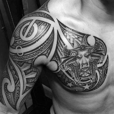 tribal half sleeve and chest male taurus themed tattoo