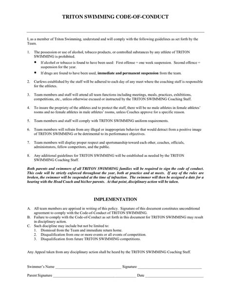 code of conduct form template code of conduct form in word and pdf formats