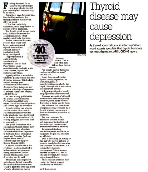 can thyroid problems cause mood swings thyroid disease may cause depression the straits times