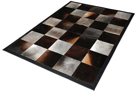 gray cowhide rug gray and brown patchwork cowhide rug in squares no 164 shine rugs