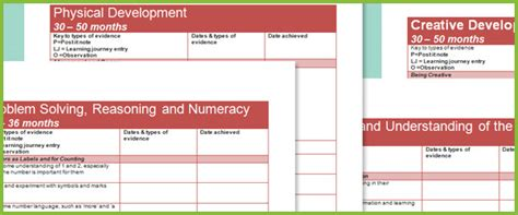 eyfs evidence gathering sheets  early years