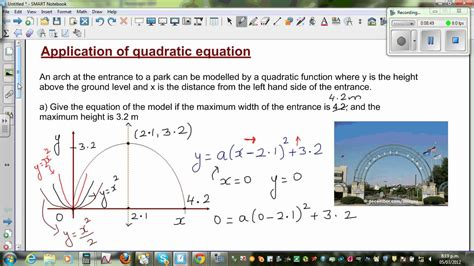 application of quadratic equation to find the equation of