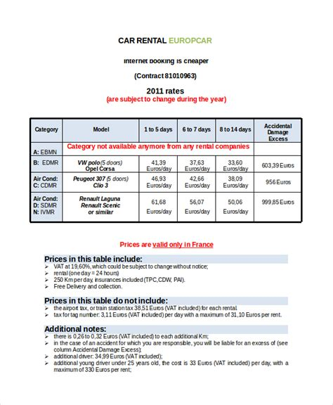 rental invoice template   word  document
