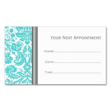 Business Card Template Grey by Aqua Grey Damask Salon Appointment Cards Business Card