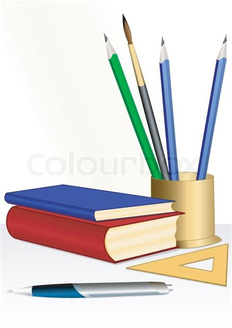 pictures of books and pencils illustration of an educational set from books pencils