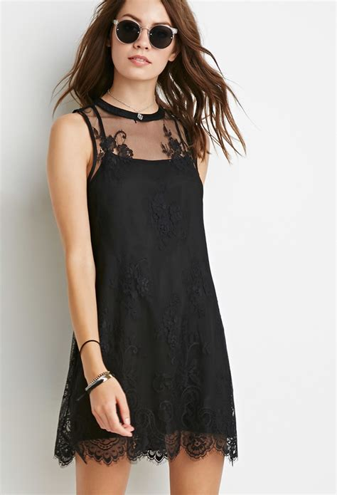 Dress Wanita By Forever21 lyst forever 21 floral mesh lace dress in black