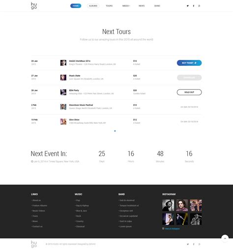 hugo themes preview hugo music artist singers bands wordpress by