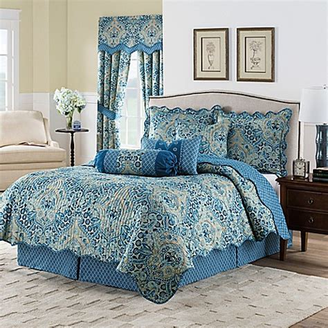 bedding waverly waverly moonlit shadows reversible quilt set in lapis bed bath beyond