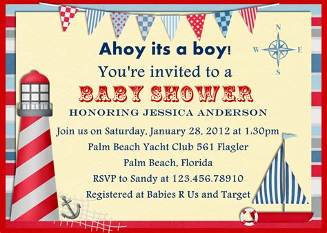 Template Nautical Themed Baby Shower Invitations Free Nautical Invitation Templates