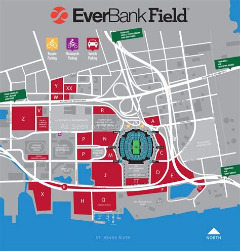 of florida parking map everbank field jacksonville fl seating chart view