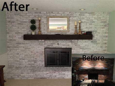Faux Fireplace Plans by Whitewash Fireplace Before And After Joy Studio Design