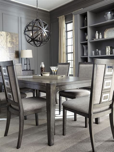 gray dining table set chadoni gray rectangular extendable dining table from