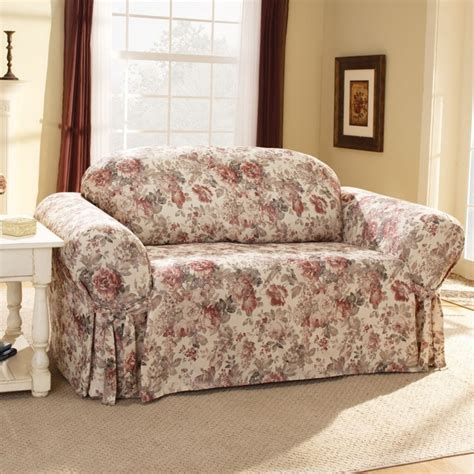 floral couch covers sure fit chloe floral sofa slipcover box cushion