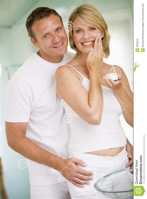 couples in bathroom couple in bathroom with face cream royalty free stock photo image 5930575