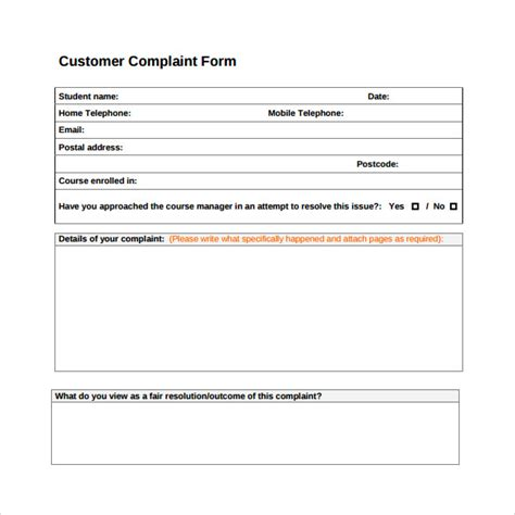 8 Customer Complaint Form Exles Sle Templates Customer Complaint Form Template Word