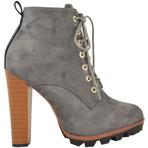 new womens ankle boots lace up block high heel