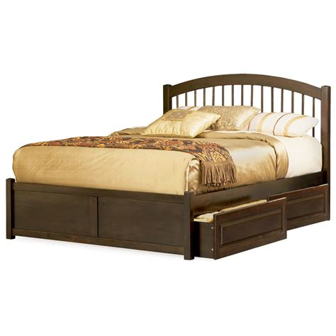Raised Platform Bed Platform Bed W Flat Footboard And Raised Panel Drawers Dcg Stores
