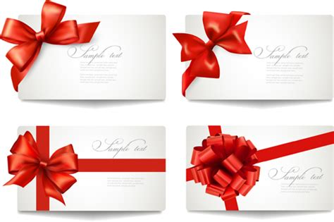 Ribbons Gift Card - exquisite ribbon bow gift cards vector set 13 vector card vector ribbon free download
