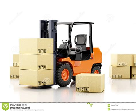 Warehouse With No Background Check 3d Forklift Truck With Cardboard Boxes Stock Illustration