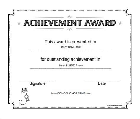 achievement awards templates 10 word award templates free free premium