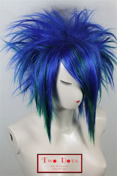 emo hairstyles wigs items similar to emo punk spiky blue green wig