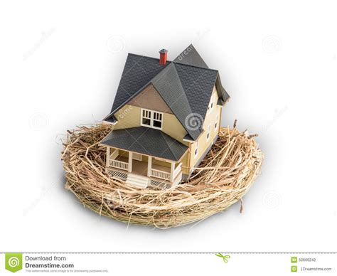 photograph of birds nest with a miniature home inside