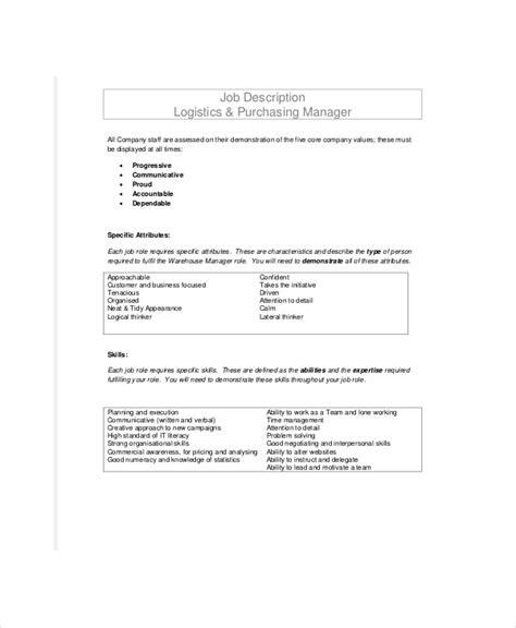purchasing descriptions 8 logistics officer description sles sle