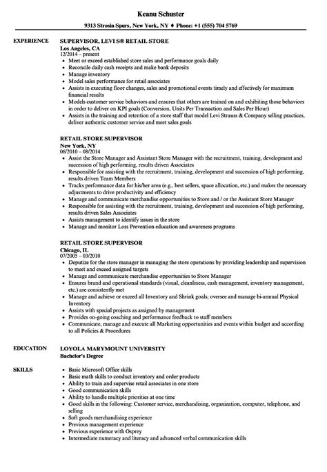 Retail Supervisor Resume by Retail Store Supervisor Resume Sles Velvet