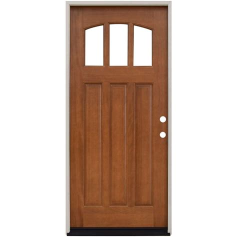 hardwood doors exterior steves sons 36 in x 80 in craftsman 3 lite arch stained mahogany wood prehung front door