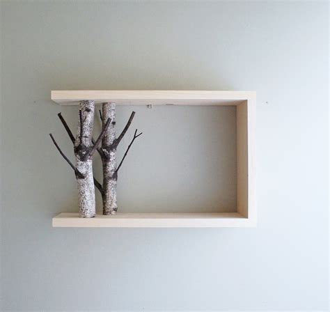 Birch Shelf white birch forest wall shelf 18x12 birch branch