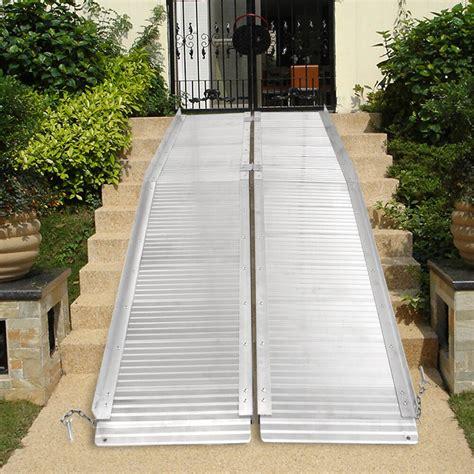 aluminum fold portable wheelchair ramp mobility handicap suitcase  slip  ebay