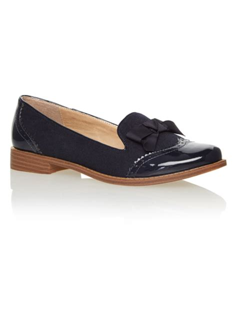 sainsburys shoes style slipper cut brogue patent micro navy aw15 navy
