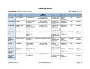 Stakeholder Register Template by Arrow Consulting Pmp