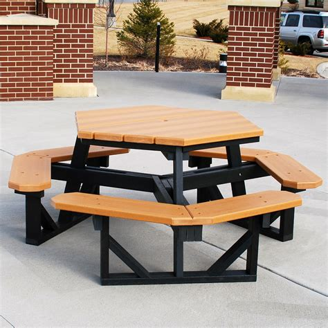 Two Tones Composite Patio Picnic Table Set With Benches