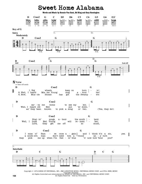 sweet home alabama sheet by lynyrd skynyrd guitar