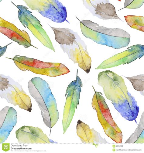 watercolor feather pattern watercolor pattern with feathers stock photo image 59012336