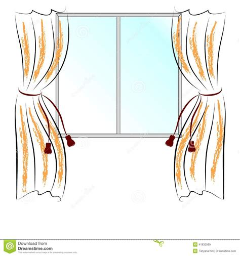 Home Decoration Curtains by Window And Curtains Stock Vector Image 41832569