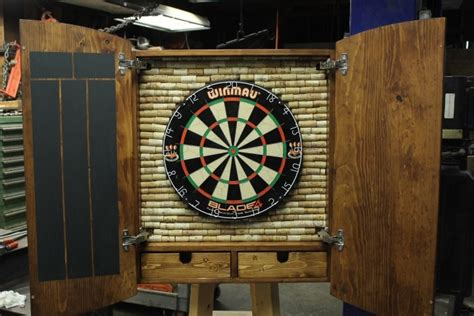 custom dart board cabinet with drawers