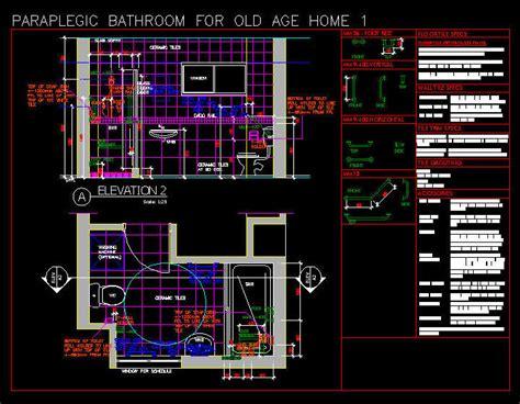 Bathroom Layouts Dwg Cad Drawing Disabled Paraplegic Bathroom For Age