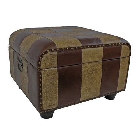 ottoman trunk faux leather ottoman trunk in mix pattern ywlf 2187 mx
