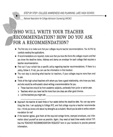 Recommendation Letter Of Minnesota 9 Sle High School Recommendation Letter Free Sle Exle Format