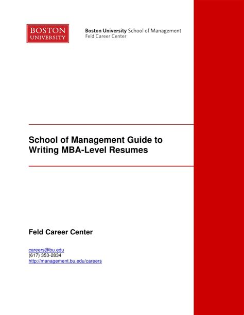 Guide To Managing Your Career Wharton Mba Career Management by Writing Mba Resumes