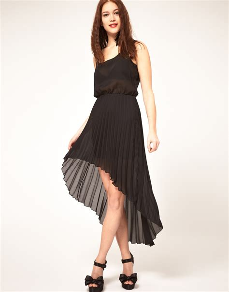 asos collection asos midi dress with pleated skirt in