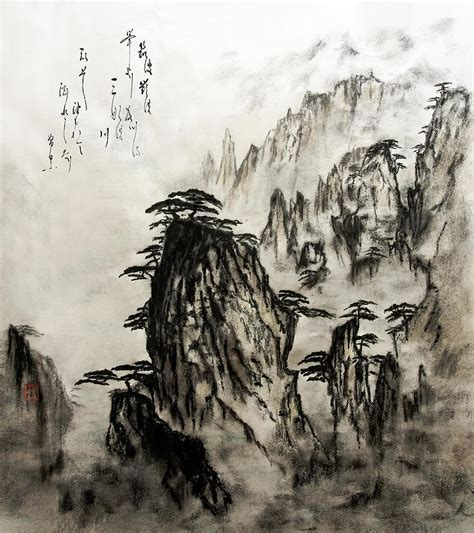 chinese mountains with poem in ink brush calligraphy of