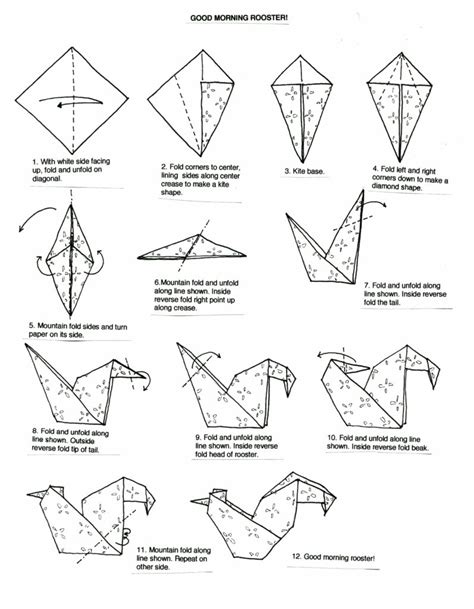 Search Origami - free coloring pages origami rooster