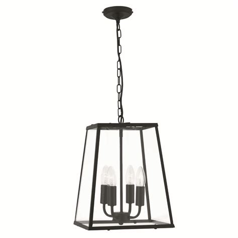 4 sided glass ceiling lantern 4 light black