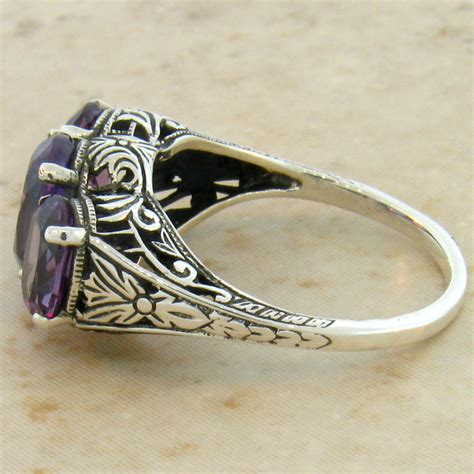 color changing alexandrite antique deco style 925 silver