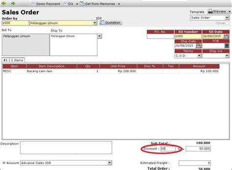 membuat invoice di accurate persentase diskon invoice pada sales order menjadi hilang