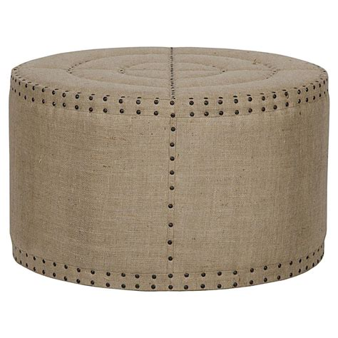 rustic ottoman adalene french country burlap rustic round coffee table